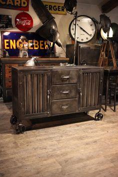 meuble industriel ancien deco loft .:!:. Would make a unique tv stand.