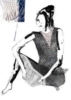 Fashion Sketchbook - fashion illustration & textile swatches; fashion student portfolio // Emily Georgiou