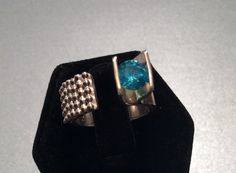 Sterling silver and aqua CZ tension set ring by Caribbeanmemories