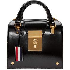 Thom Browne Black Mini Mrs Thom Duffle Bag ($4,250) ❤ liked on Polyvore featuring bags, handbags, structured handbags, mini handbags, striped handbag, fold over handbag and mini duffle bag