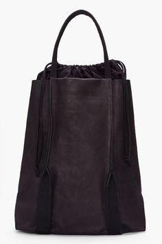 SILENT BY DAMIR DOMA Black Leather Bagrus Tote leather totebag damirdoma bag accessories designer