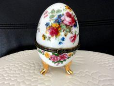 Vintage Footed Porcelain Trinket Box Egg by AuntieLindasAttic, $18.00