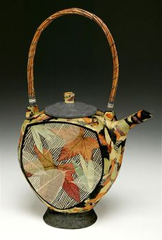 Thrown and altered stoneware Teapot, overlaid with torn fragments of hand-made papers. Side panels collaged from skeletal leaf, digital prints and hand made papers. Handle of Red River Willow