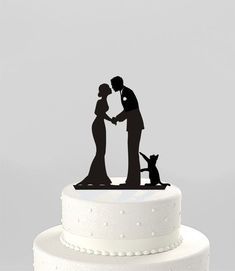 Wedding Cake Topper Silhouette Groom and Bride with Cat Mr &