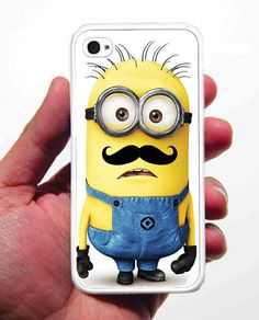 Despicable Me Minion Mustache iPhone Case - Rubber Silicone iPhone 4 Case or Plastic iPhone 5 Case - Free Screen Protector Included. $13.99, via Etsy.