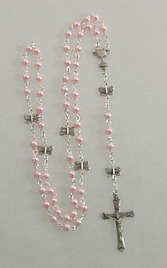 Pink Pearl Butterfly Rosary w/ Pewter Crucifix & Center
