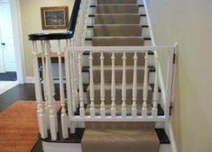 15 Trendy Ideas For Diy Baby Gate Banister Banisters Banister Baby Gate, Stair Banister, Banisters, Diy Stair, Wooden Stair Gate, Wooden Baby Gates, Diy Dog Gate, Diy Baby Gate, Pet Gate