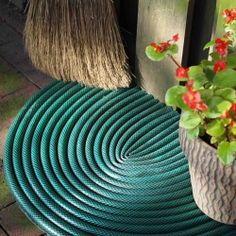Transform those leaky garden hoses into a door mat...easy tutorial!