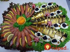 Nice decoration for any Celebration Meat Cheese Platters, Food Platters, Fish Platter, Food Carving, Party Buffet, Brunch Party, Holiday Tables, Decoration Table, Culinary Arts