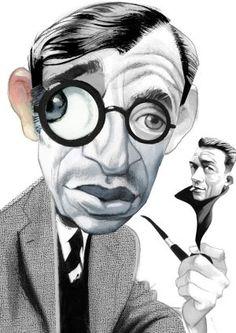 """ARTICULO """"SARTRE Y SUS AMIGOS"""" por Mario Vargas LLosa--Dibujo: Fernando Vicente--Diario ElPais30-12-2012"""