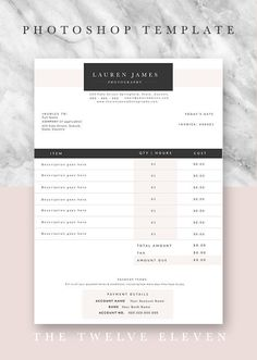 Invoice Template   Invoice Design   Receipt   MS Word Invoice     www etsy com thetwelveeleven  LAUREN JAMES   Editable  customisable  Invoice