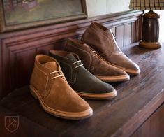 Mojave in Tan, Olive, Dark Brown Suede and Brown Leather - Unlined Chukka Boot Mens Casual Shoes by Allen Edmonds, $260 #allenedmonds #chukka Shop Mojave http://wngtp.us/l4nN