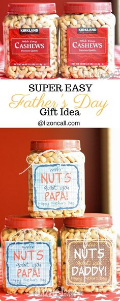 My favorite easy Father's Day gift idea are these nuts about daddy printable labels.