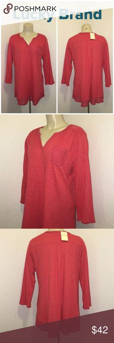 Lucky Brand Orange Crotched Pocket Henley Blouse Beautiful blouse with crocheted  detail pocket, neckline, and bottom hem. 3/4 sleeve. In excellent condition. Brand new with tags. Retails: $50 Lucky Brand Tops Blouses