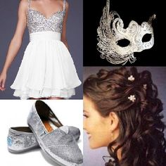 Prom ? I think yes  sequenced top white dress with sparkling toms. Prefect mask for a masquerade ! And curly hair, of course !