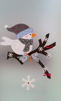 Fensterbild - Vogel auf dem Zweig Winter - Weihnachten - Dekoration - Tonkarton!