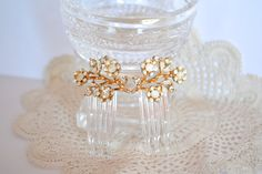 Bridal Hair Combs Gold and Ivory Flowers by JillsBoutique on Etsy, $32.00