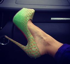 Daff Menthe Python Fairytale Pumps from Christian Louboutin's Fall-Winter 2012 Collection.