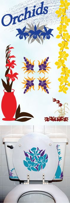 Sinkadoodles has added Orchids to our collection of Flower bathroom decals. Bathroom Decals, Shower Doors, Diy Stuff, Tatt, Memes, Dyi, Orchids, Flowers, Collection