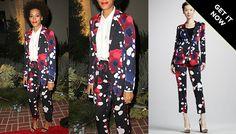 Solange Knowles in Diane von Furtsenberg Vint Splash-Print Jacket & Benett Splash-Print Cropped Pants