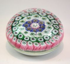 Vintage Art Glass Paperweight Millefiori Flowers by HoneyYourHome, $22.00