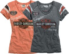 For the ultimate Harley® enthusiast whose heart beats for the next trip down the highway, the Harley-Davidson® Oil Can Burnout Tee takes your love for everything H-D® and puts it on center stage. Featuring a worn look with vintage graphics, the soft cotton/polyester blend holds the color of the all-over burnout pattern. The V-neck silhouette, contrasting stripes on sleeves, and printed graphics with rhinestone embellishment make this tee a complete package. Ava...