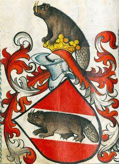 "discardingimages:  "" sabre-toothed heraldic beaver  Scheibler Armorial, Germany ca. 1450-1480  München, BSB, Cod.icon. 312 c, p. 114  """