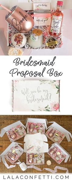 Will you be my bridesmaid? Our Bridesmaid Proposal Box is the perfect way to ask your friends to be a bridesmaid! When it comes to asking bridesmaids, they'll love this bridesmaid proposal with a personalized bridesmaid tumbler Bridesmaid Gifts From Bride, Wedding Gifts For Bride And Groom, Bridesmaid Gift Boxes, Bridesmaid Proposal Cards, Wedding Proposals, Bridesmaids And Groomsmen, Gifts For Wedding Party, Wedding Favors, Bridesmaid Ideas