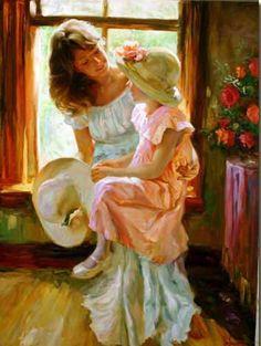 """""""From A Rose""""Vladimir Volegov -Mão embelezado giclee sobre tela  """"Piquenique no Papoilas"""", de Vladimir Volegov Original óleo sobre tela  """"..."""