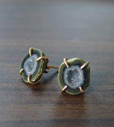 SALE Green Geode Stud Earrings Gold Filled Ooak by #friedasophie - http://www.friedasophie.com