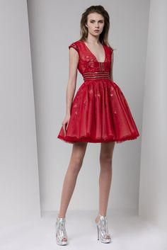 Short crimson princess dress in embroidered tulle with crystal-embroidered belt and cap sleeves.