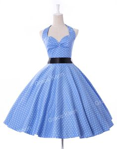 Summer Women Dress Vestidos Retro Vintage Dress Polka Dots Pinup Rockabilly Plus Size Sexy Halter Short Party Dresses