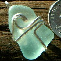 Seafoam Sea Glass Wire Wave Pendant