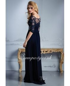 Navy Blue 3/4 Sleeves Off Shoulder Long Prom Dress With Beaded Embroidery