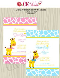 Pink or Blue and Yellow Giraffe Baby Shower Invite by ckfireboots, $10.00
