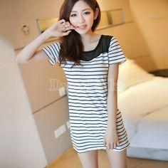 $ 7.64 Casual Women's Girl Round Collar Short Sleeve Splicing Net Yarn Stripe Dress 2Colors