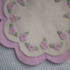 Pink and Cream Felt Candle Mat Penny Rug by CraftydsCreations, $16.50