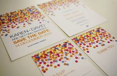 Rainbow polka dot #wedding invitations!