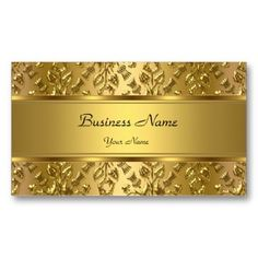 Elegant Classy Gold Damask Embossed Look Double-Sided Standard Business Cards (Pack Of This great business card design is available for customization. All text style, colors, sizes can be modified to fit your needs. Just click the image to learn more!