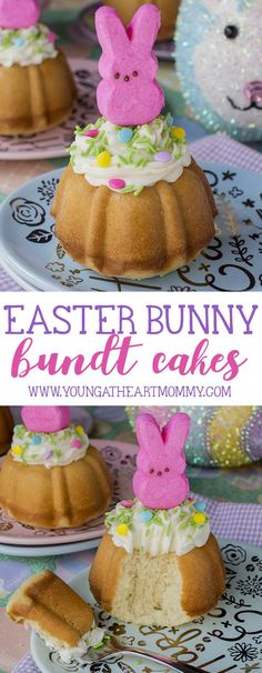 Get excited for springtime with these adorable Easter Bunny Bundt Cakes topped with vanilla buttercream and sugar-coated marshmallow PEEPS®️️!
