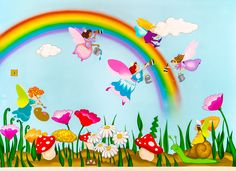 Bright and Colourful Fairies Mural Kids Wall Murals, Murals For Kids, Art For Kids, Safari Decorations, School Decorations, Mural Painting, Mural Art, Garden Mural, School Murals