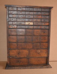 Antique Oak Watchmaker Cabinet 49 Drawer Slide Top Seed Spice Box Country Store