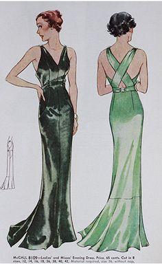 McCall 8109 | ca. 1935 Ladies' & Misses' Evening Dress