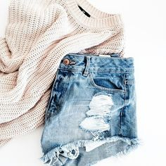 cable knit + distressed denim