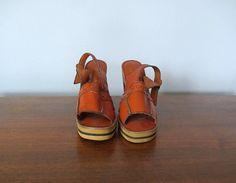 1970s wooden platforms . vintage platform shoes by BlueFennel