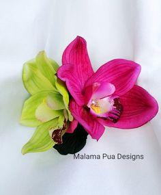 TROPICAL HAIR CLIP  Hawaiian Double Orchid Hair by MalamaPua