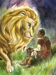 Aslan and Emeth from The Last Battle by tomato-bird #narnia #fanart