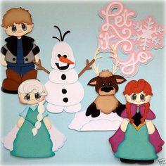 Set of 6 frozen princess prince snowman paper piecing by my tear bears kira
