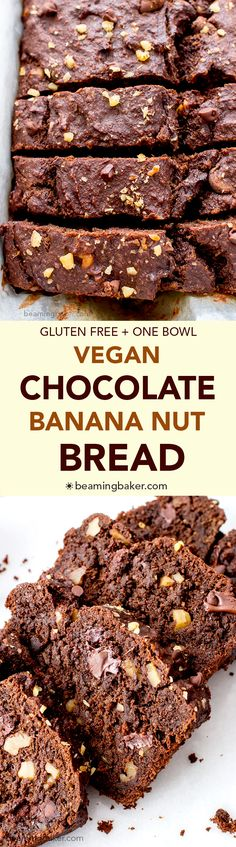 Vegan Chocolate Banana Nut Bread (V GF): A one bowl recipe for rich moist and chocolatey banana bread with walnuts. Vegan and Gluten Free.