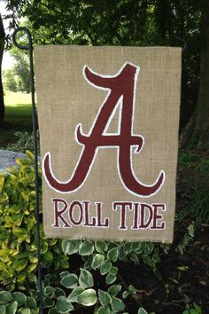 Charming University Of Alabama Roll Tide Burlap Garden Flag By WORLEYdesigns On  Etsy, $18.00.